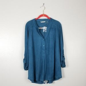 Soft Surroundings Tunic Top Teal Faux Suede Blouse